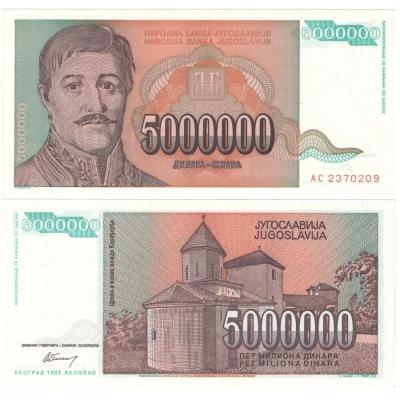 Jugoslávie - bankovka 5 000 000 dinara 1993 UNC