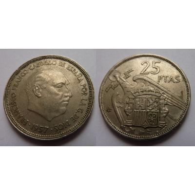 Španělsko - 25 pesetas 1957, generál Franco
