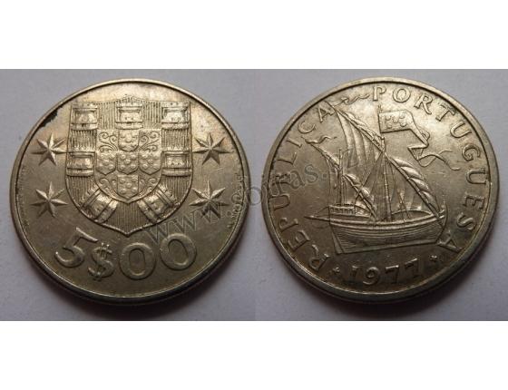 Portugalsko - 5 escudos 1977