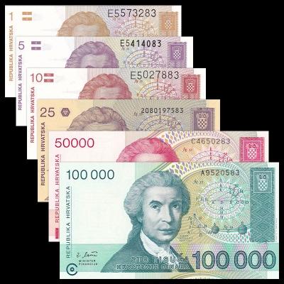 Chorvatsko - sada 6 bankovek 1,5,10,25,50000,100000 dinara UNC