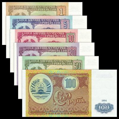 Tádžikistán - sada 6 bankovek 1,5,10,20,50,100 rublů 1994 UNC