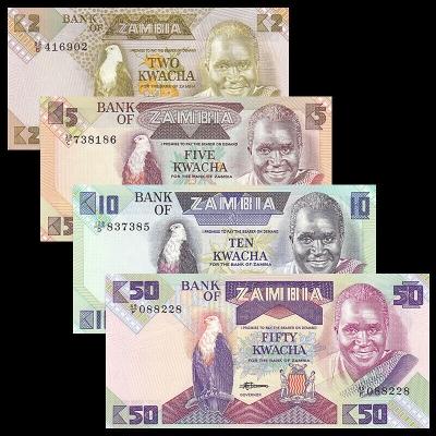 Zambie - sada 4 bankovek 2, 5, 10, 50 Kwacha UNC