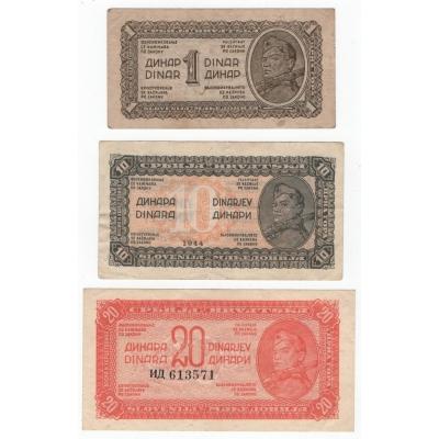 Jugoslávie - bankovky 1, 10 a 20 dinara 1944