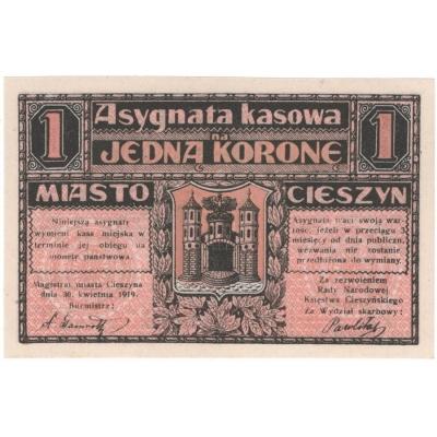 Československo/Polsko - Bílsko, bankovka 1 koruny 1919 UNC