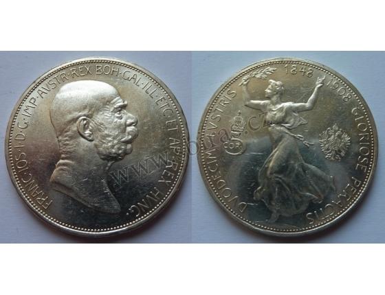 5 korun 1908 k 60. let vlády Františka Josefa I.