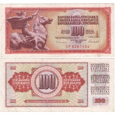 Jugoslávie - bankovka 100 dinara 1986