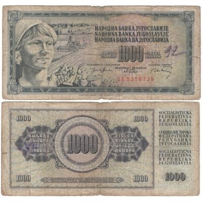 Jugoslávie - bankovka 1000 dinara 1974