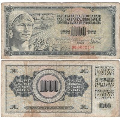 Jugoslávie - bankovka 1000 dinara 1978