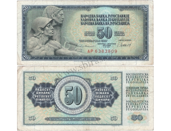Jugoslávie - bankovka 50 dinara 1981