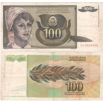 Jugoslávie - bankovka 100 dinara 1991, série AA