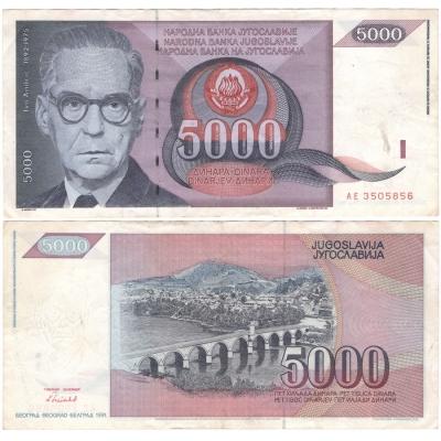 Jugoslávie - bankovka 5 000 dinara 1991