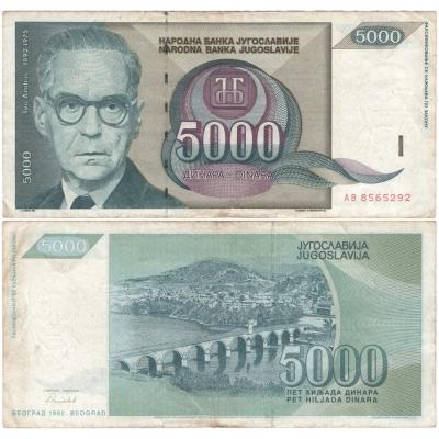 Jugoslávie - bankovka 5 000 dinara 1992