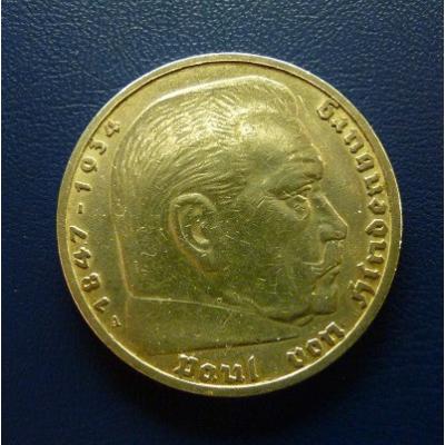 5 Reichsmark, Hindenburg 1936 A