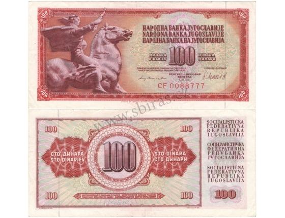 Jugoslávie - bankovka 100 dinara 1981
