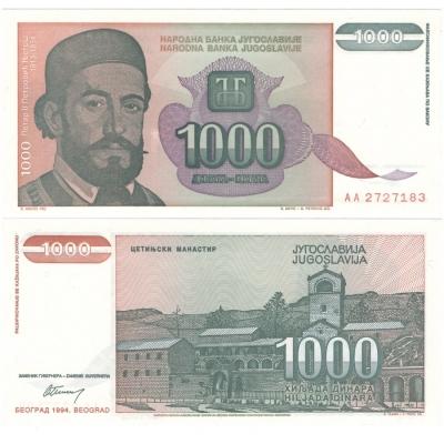 Jugoslávie - bankovka 1000 dinara 1994