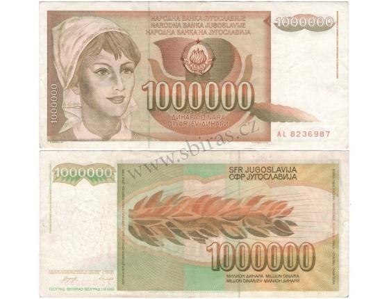 Jugoslávie - bankovka 1 000 000 dinara 1989