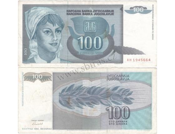 Jugoslávie - bankovka 100 dinara 1992