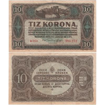 Maďarsko - bankovka 10 korona 1920