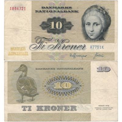 Dánsko - bankovka 10 kroner 1972