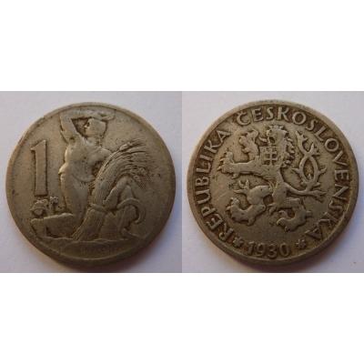Československo - mince 1 koruna 1930
