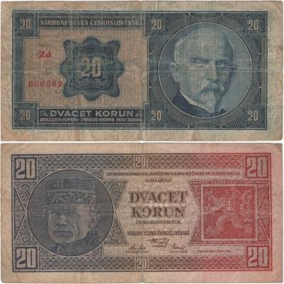 20 korun 1926 neperforovaná, série Zd