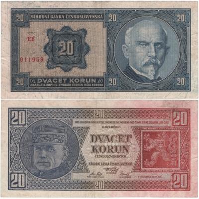 20 korun 1926 neperforovaná, série Ef