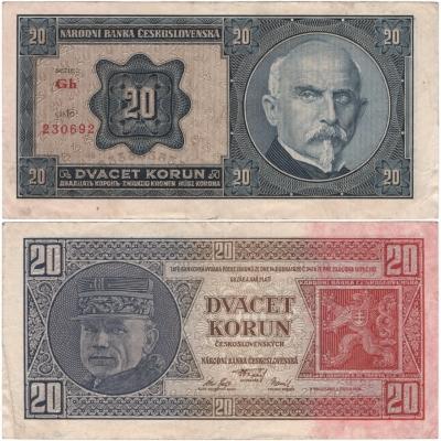 20 korun 1926 neperforovaná, série Gh