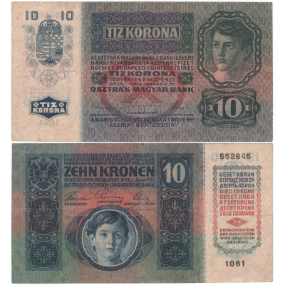 10 korun 1915, série 1061 bez přetisku