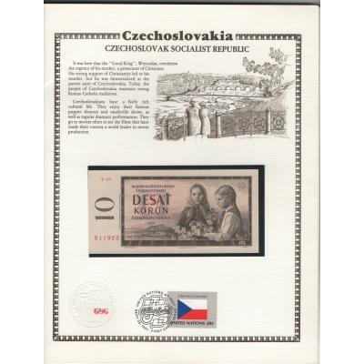 Sběratelský list z USA s vloženou originální bankovkou 10 korun 1960, série S v UNC stavu