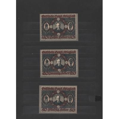 Rakousko - sada 3 nouzových bankovek 10, 20 a 50 haléřů Gemeinde Krieglach 1920