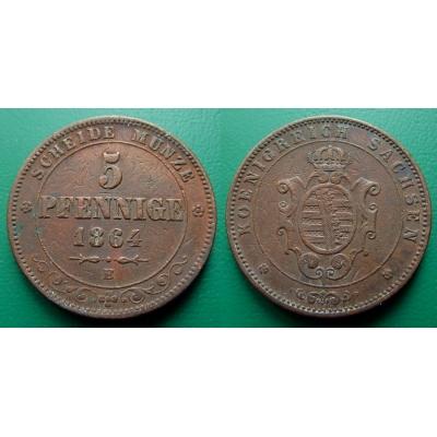 Německo - 5 Pfennig 1864 B, Sachsen