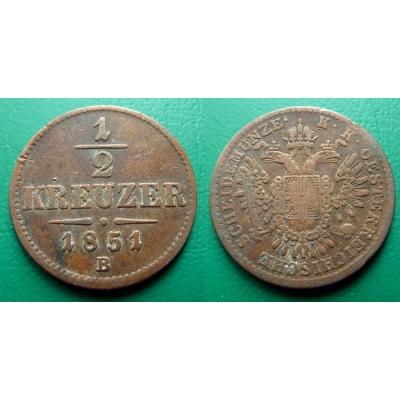 František Josef I. - 1/2 krejcar 1851 B