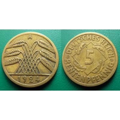 Německo - 5 Rentenpfennig 1924 A