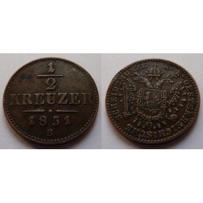 František Josef I. - 1/2 krejcaru 1851 B