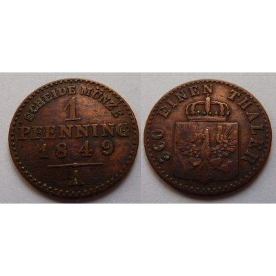 Prusko - 1 pfennig 1849 A