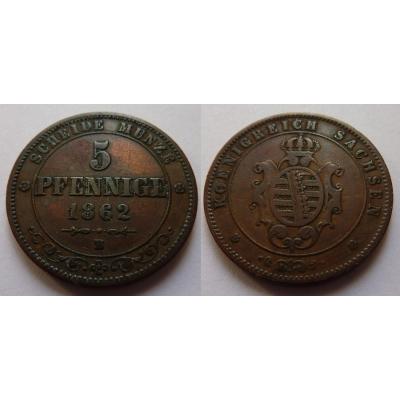 Německo - 5 Pfennig 1862 B, Sachsen