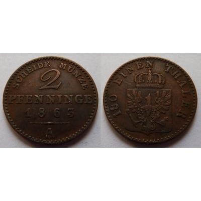 Prusko - 2 pfennig 1863 A