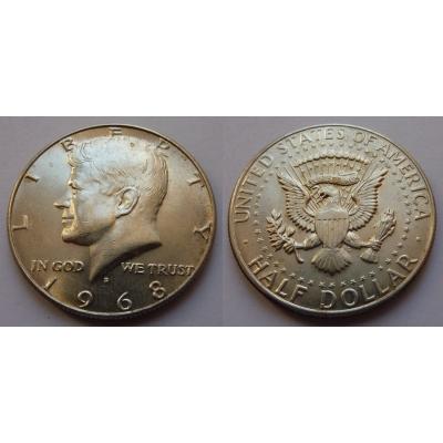 Spojené státy americké - stříbrný 1/2 dolar 1968 D, Kennedy