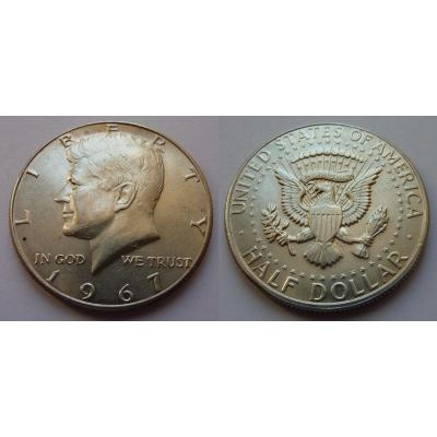 Spojené státy americké - stříbrný 1/2 dolar 1967 D, Kennedy