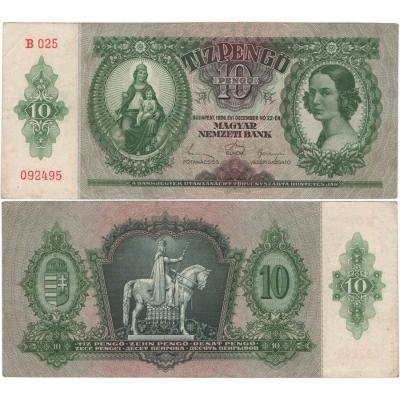 Maďarsko - bankovka 10 Pengo 1936, platná na našem území