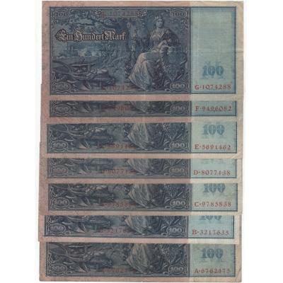 7x Německé císařství - 100 marek 1910, série A, B, C, D, E, F, G
