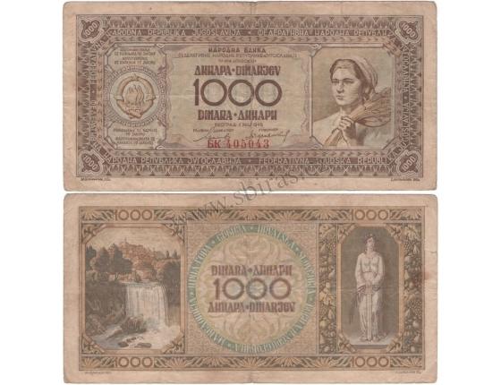 Jugoslávie - bankovka 1000 dinara 1946
