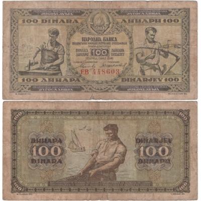 Jugoslávie - bankovka 100 dinara 1946