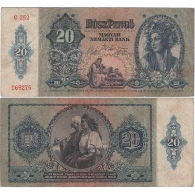 Maďarsko - bankovka 20 Pengo 1941, platná na našem území