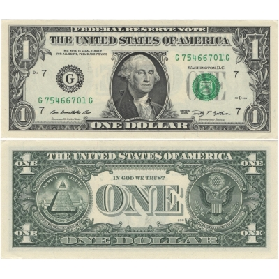 Spojené státy americké - bankovka 1 dolar 2009 G7