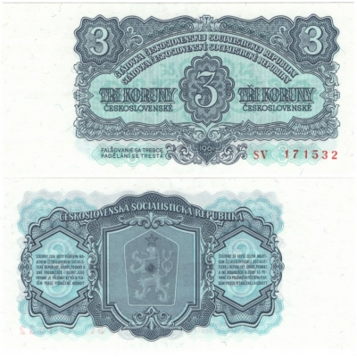 3 koruny 1961 UNC, série SV