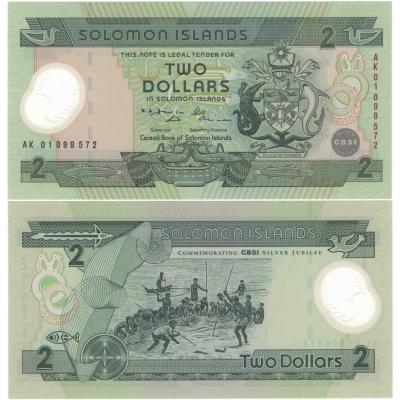 Šalamounovy ostrovy - bankovka 2 dolary 2011 UNC, polymerová bankovka