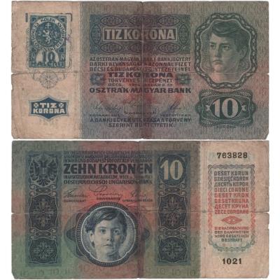 10 korun 1915, stříhaný kolek