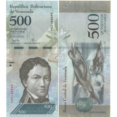 Venezuela - bankovka 500 bolivares 2017 aUNC