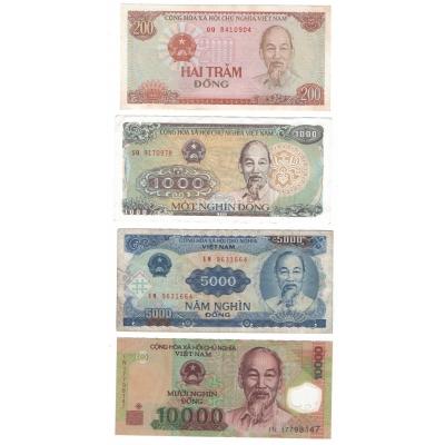 Vietnam - sada 4 bankovek